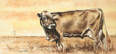 Brown Swiss Painting - Swiss Brown Cow by Sara Cuthbert