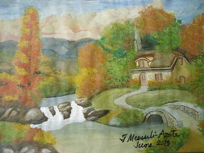Beautiful Creek Drawing - Swiss Cottage by Fladelita Messerli-