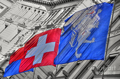 Swiss Flags  Art Print by Mats Silvan