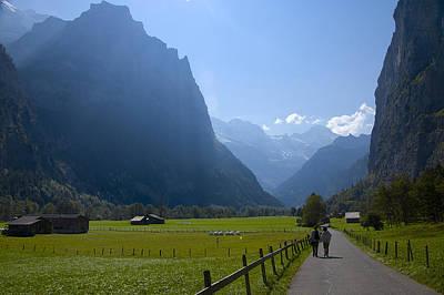 Swiss Hikers In Lauterbrunnen Switzerland Art Print