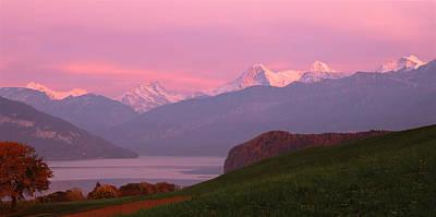 Bernese Photograph - Switzerland, Bernese Alps, Lake Thun by Panoramic Images
