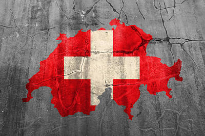 Switzerland Flag Country Outline Painted On Old Cracked Cement Art Print by Design Turnpike