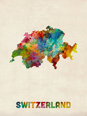 Watercolor Photograph - Switzerland Watercolor Map by Michael Tompsett