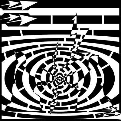 Sports Maze Drawing - Swords And Samurai Maze  by Yonatan Frimer Maze Artist