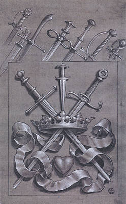 Grayscale Drawing - Swords Crown And Heart Design by