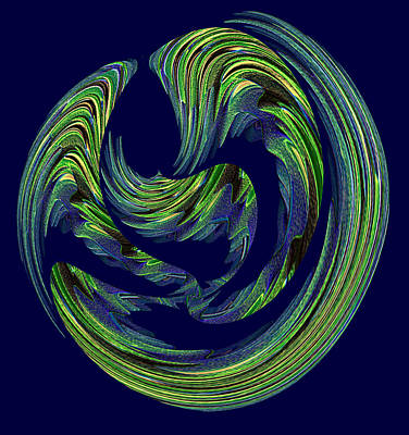 Swrils Digital Art - Swriled Green And Blues by Linda Phelps