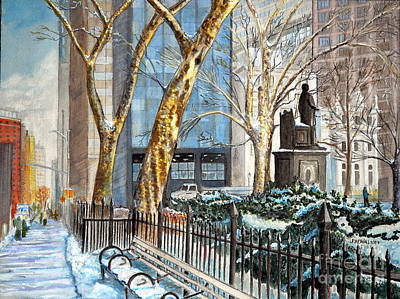 Sycamore Painting - Sycamores Madison Square Park by John W Walker