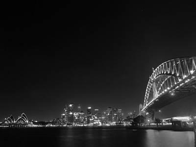Sydney Skyline Photograph - Sydney By Night Black And White by Kaleidoscopik Photography