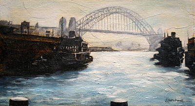 Painting - Sydney Ferry Wharves 1950's by Lyndsey Hatchwell