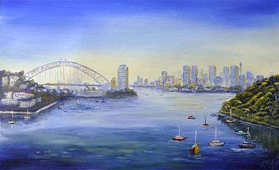 Sydney Skyline Painting - Sydney From Berry Bay by Christopher Vidal