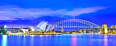Vivid Festival Photograph - Sydney Harbour Blues Panorama by Az Jackson