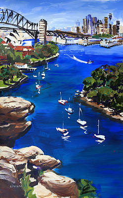 Shirley Painting - Sydney Harbour Boats by Shirley  Peters