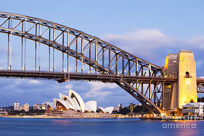 Harbor Photograph - Sydney Harbour Bridge And Opera House by Colin and Linda McKie