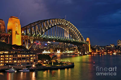 Sydney Harbour Bridge By Night Art Print by Kaye Menner