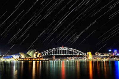 Photograph - Sydney Harbour Bridge Star Tails by Thienthongthai Worachat