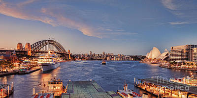Liner Photograph - Sydney Harbour By Night by Colin and Linda McKie