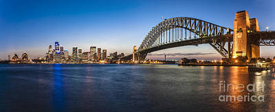 Sydney Skyline Photograph - Sydney Harbour Evening Panorama by Colin and Linda McKie