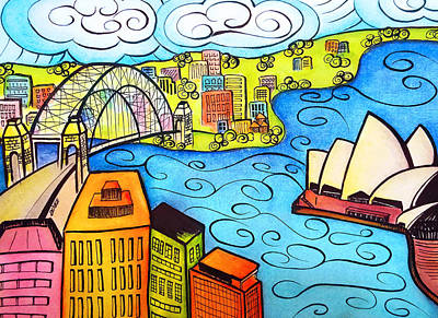 Painting - Sydney Harbour  by Oiyee At Oystudio