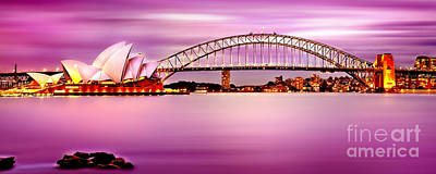 Sydney Harbour Pink Sunset Art Print