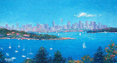 Australian Holiday Painting - Sydney Harbour Sailing by Jan Matson