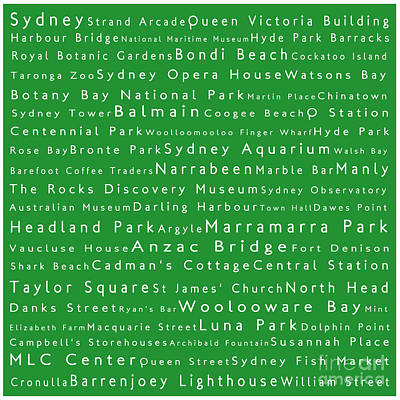 Hyde Park Digital Art - Sydney In Words Green by Sabine Jacobs