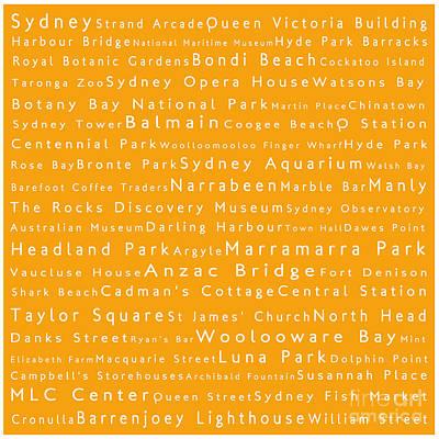 Cockatoo Digital Art - Sydney In Words Orange by Sabine Jacobs