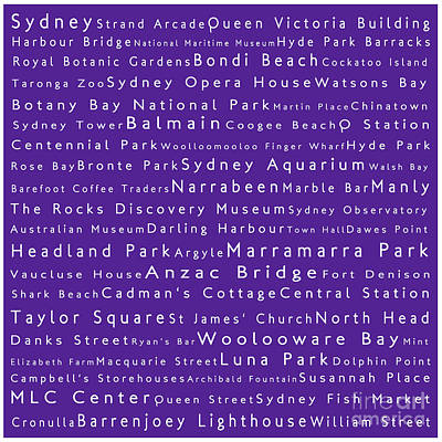 Cockatoo Digital Art - Sydney In Words Purple by Sabine Jacobs