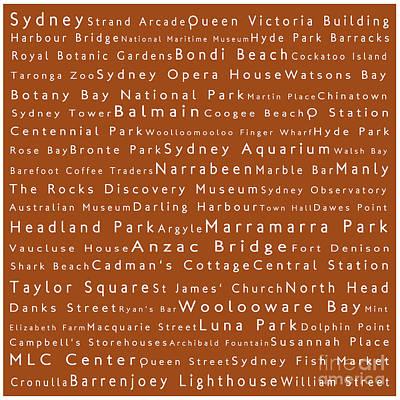 Cockatoo Digital Art - Sydney In Words Toffee by Sabine Jacobs