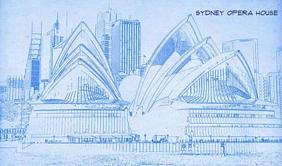 Drawing Digital Art - Sydney Opera House - Blueprint Drawing by MotionAge Designs