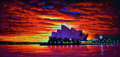 Sydney Skyline Painting - Sydney Opera House 2 by Thomas Kolendra