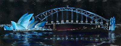 Painting - Sydney Opera House And Bridge At Night by Vic Delnore