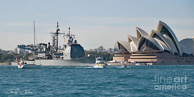 Sydney Opera House And Uss Chosin. Art Print by Geoff Childs