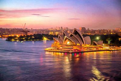 Australian Mixed Media - Sydney Opera House At Dusk by Georgiana Romanovna