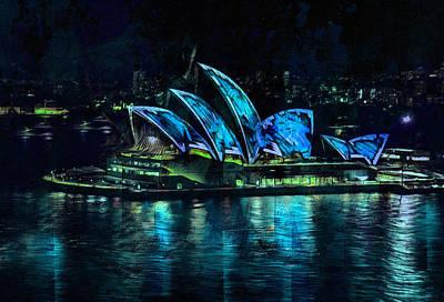 Australian Mixed Media - Sydney Opera House By Night by Georgiana Romanovna