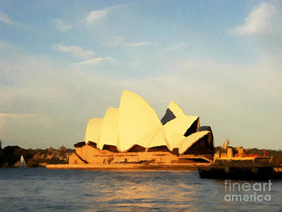 Sharks Painting - Sydney Opera House Painting by Pixel Chimp