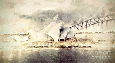 Sydney Harbour Bridge Painting - Sydney Opera House by Shanina Conway