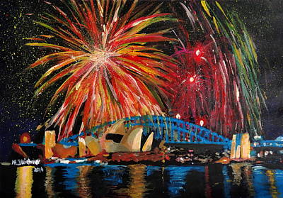 Sydney Skyline Painting - Sydney Silvester Fireworks At New Year by M Bleichner