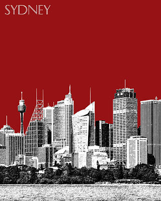 Sydney Skyline 1 - Dark Red Art Print by DB Artist