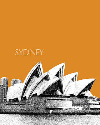 Sydney Skyline Digital Art - Sydney Skyline 3  Opera House - Dark Orange by DB Artist