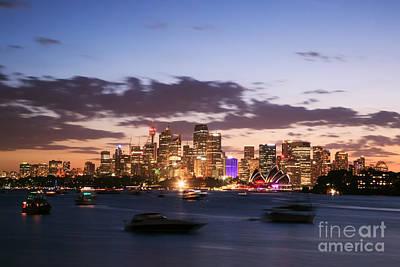 Sydney Skyline Photograph - Sydney Skyline At Dusk Australia by Matteo Colombo