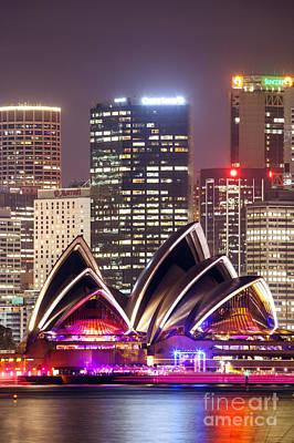 Sydney Photograph - Sydney Skyline At Night With Opera House - Australia by Matteo Colombo