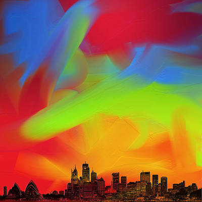 Digital Art - Sydney Skyline In Oils by Andy Walsh