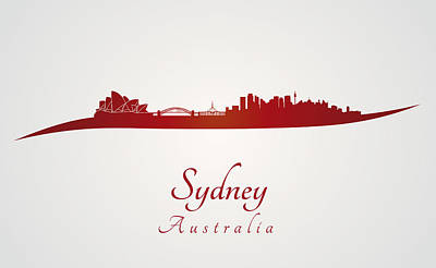 Sydney Skyline In Red Art Print by Pablo Romero