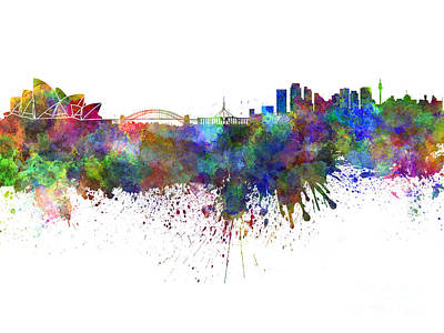 Sydney Skyline Painting - Sydney Skyline In Watercolor On White Background by Pablo Romero