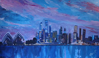 Sydney Skyline Painting - Sydney Skyline With Opera House At Dusk by M Bleichner