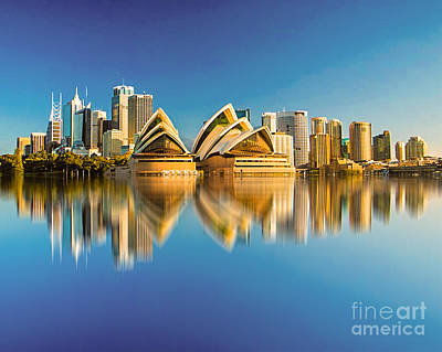 Sydney Skyline With Reflection Art Print by Algirdas Lukas