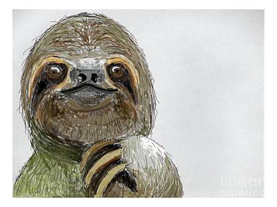 Sydney The Three-toed Sloth Art Print by John Gaffen