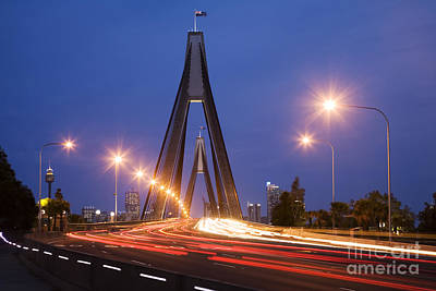 Sydney Traffic And Anzac Bridge At Twilight Art Print