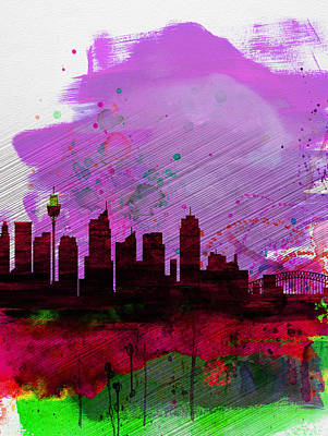 Sydney Skyline Painting - Sydney Watercolor Skyline 2 by Naxart Studio