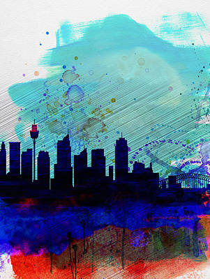 Sydney Skyline Painting - Sydney Watercolor Skyline by Naxart Studio